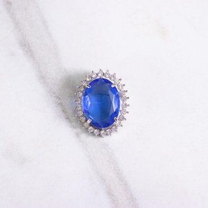 Large Blue Crystal Oval Brooch with Rhinestones